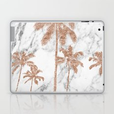 Rose gold palms on marble Laptop & iPad Skin