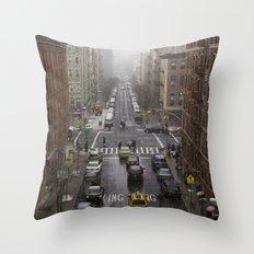 East Harlem NYC Snowy Saturday Throw Pillow