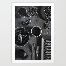 Black - the colors of food Art Print