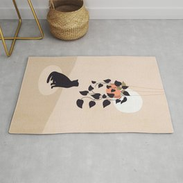 Hanging out with you forever - Cat, Plant and Moon Rug