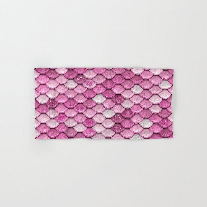 Light Pink Glitter Mermaid Sparkling Scales - Mermaidscales Hand & Bath Towel