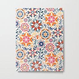 Watercolor Kaleidoscope Floral - desaturated Metal Print