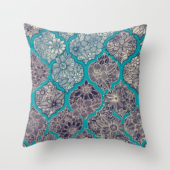Throw Pillow Arrangement : Moroccan Floral Lattice Arrangement - teal Throw Pillow by Micklyn Society6