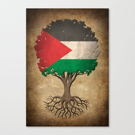 Vintage Tree of Life with Flag of Palestine Canvas Print