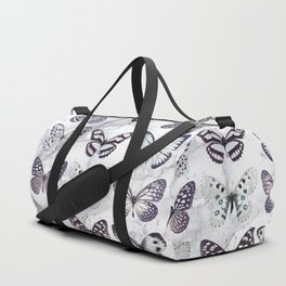 Black and white marble butterflies Duffle Bag