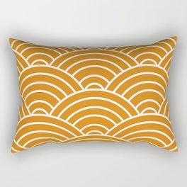 Orange Japanese Seigaiha Wave Rectangular Pillow