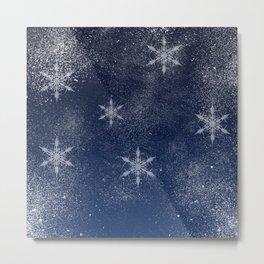 Winter snowflake snow navy blue Christmas Metal Print