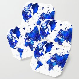 """Navy blue and cobalt blue watercolor world map with cities labelled, """"Carlynn"""" Coaster"""