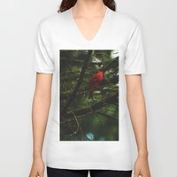 cardinal V-neck T-shirts featuring Cardinal by Tarraf Photography