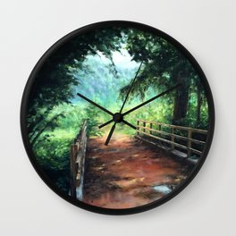 Landscape of nature with a wooden bridge Wall Clock