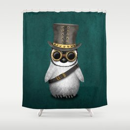 Steampunk Baby Penguin on Blue Shower Curtain