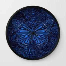 Monarch Butterly in Blue Wall Clock
