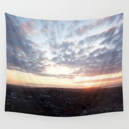 Salisbury Crags overlooking Edinburgh at sunset 4 Wall Tapestry