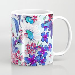 Cool blue floral garland texture Coffee Mug