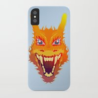charizard iPhone & iPod Cases featuring Flaming Dragon by Head Glitch