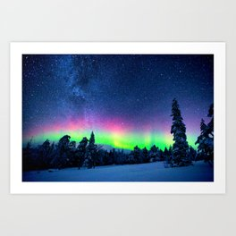 Aurora Borealis Over Wintry Mountains Art Print
