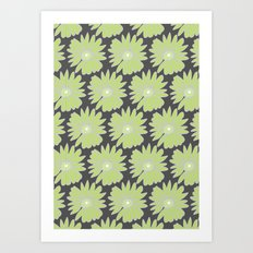 Lime Daisy on Grey Art Print