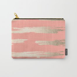 Simply Brushed Stripe in White Gold Sands on Salmon Pink Carry-All Pouch