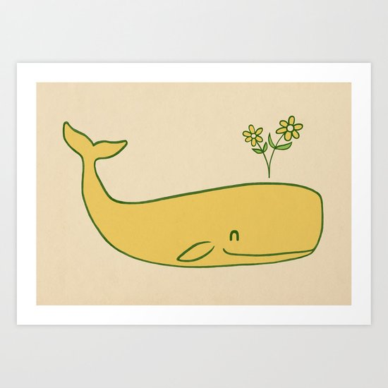 Peace Whale - colour option Art Print
