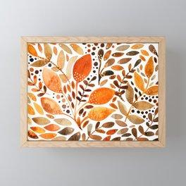 Autumn watercolor leaves Framed Mini Art Print
