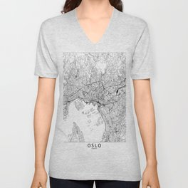 Oslo White Map Unisex V-Neck