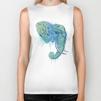 christmas Biker Tanks featuring Elephant Portrait by Rachel Caldwell