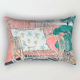 Cane Chair in Pink Interior Rectangular Pillow