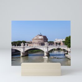 Vittorio Emanuele II bridge and Sant'Angelo castle - Rome, Italy Mini Art Print