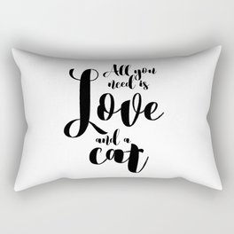 All you need is Love and a cat (black) Rectangular Pillow