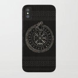Vegvisir with Ouroboros and runes iPhone Case
