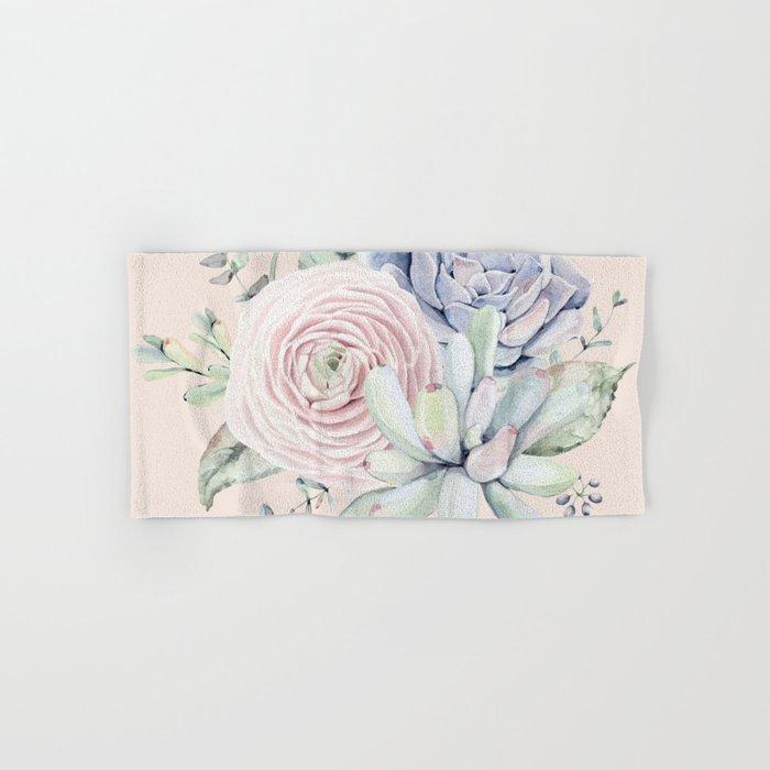 Pretty Pink Succulents Garden Hand & Bath Towel