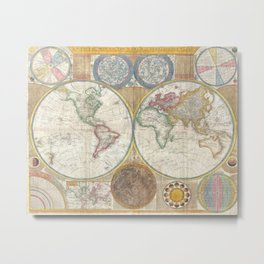 1794 Laurie & Whittle Old Map of the World Metal Print