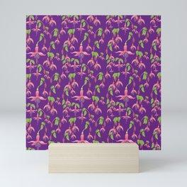 Watercolour Fuchsia Flower Pattern - Purple Mini Art Print