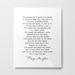Maya Angelou Famous Quote - I've Learnt That People - Literary Art Prints - Wall Art Quotes - Vintage Typewritten Quotes Metal Print