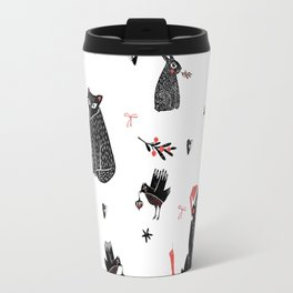Christmas black and white animals Travel Mug