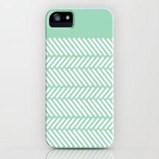 Herringbone Mint Boarder iPhone SE Slim Case