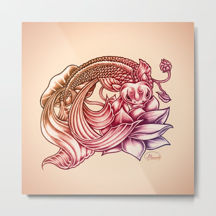 Koi Fish and Lotus Flower Metal Print