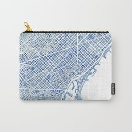 Barcelona Blueprint Watercolor City Map Carry-All Pouch