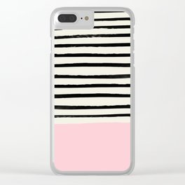 Millennial Pink x Stripes Clear iPhone Case