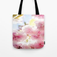cherry blossom Tote Bags featuring Cherry Blossom by 2sweet4words Designs