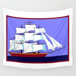 A Clipper Ship Full Sail in Still Waters Wall Tapestry