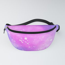 Hand painted pink purple turquoise watercolor nebula space glitter stars Fanny Pack
