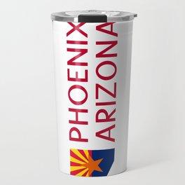 Arizona: Phoenix (State Shape & Flag) Travel Mug