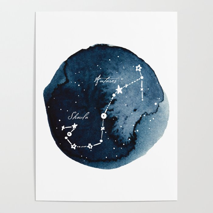 Scorpius Zodiac Constellation Poster