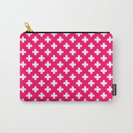 White Crosses on Hot Neon Pink Carry-All Pouch