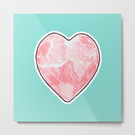 Rose Quartz Crystal Heart Metal Print