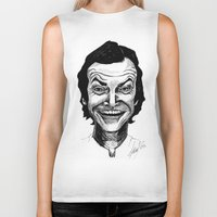 jack nicholson Biker Tanks featuring JACK NICHOLSON by Simone Bellenoit : Art & Illustration