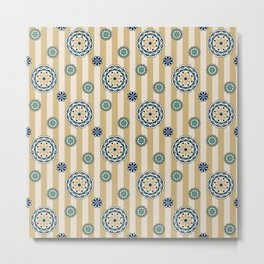 Mod Flowers on Stripes in Navy, Teal and Tan Metal Print