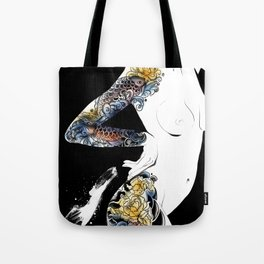 Traditional japanese body koi tattoo, Black and white illustration, Nude art, Naked beauty body Tote Bag