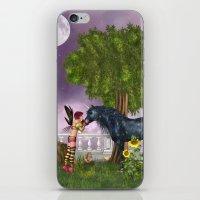 the last unicorn iPhone & iPod Skins featuring The Last Black Unicorn by Simone Gatterwe